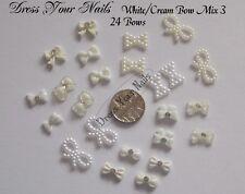 3d Nail Art WHITE/CREAM bow mix #3 - gel pearl bowtie bows 3d DIY Decoration