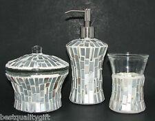 5 Piezas Juego Blanco + Plata Cristal Mosaico Vaso + Jabón / Loción Dispensador