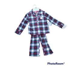 Family Pj Toddler 2 Pc Pajama Set White Red Plaid Long Sleeve Button 2T-3T New