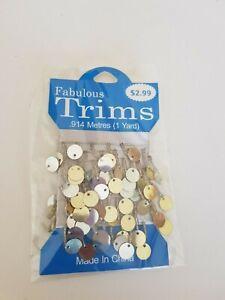 Glamour Trims Silver Gold mirror .914m 1yard BN Dolls clothes craft dance (63)