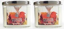 2 Bath & Body Works Sweater Weather 3-Wick Candle