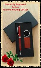 Personalised Mothers Day Timber Pen & Keyring Gift Box Set Engraved Gift For Mum
