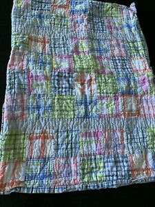 Nautica Pink  Patchwork Standard Pillow Sham  Stripe Check Cotton