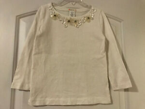 J Crew Crewcuts Girls 6/7 White Ivory Jeweled Sequin T-shirt Top VGUC