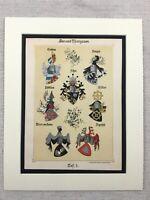1886 Antik Aufdruck Wappen Familie Crest Schlacht Der Sempach Deutsche Adel