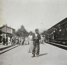 Algérie Station de chemin de Fer Train Plaque de verre stéréo Vintage ca 1920