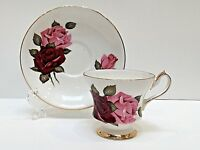 Royal Gregg TEACUP & SAUCER Bone China Red & Pink Roses Pedestal England