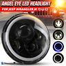 7 Inch Round Halo Angel Eye LED Headlight For Jeep Wrangler JK TJ LJ CJ Harley
