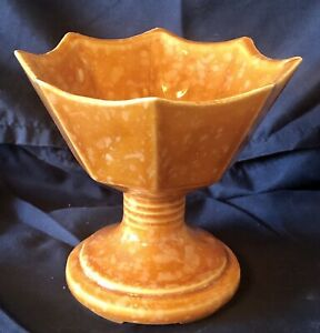 Vintage Hull Imperial Pedestal Scalloped Planter Orange Splatter/Speckle USA F4