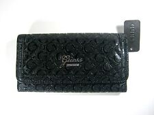GUESS Women's Frosty SLG Trifold Clutch Wallet Black New NWT
