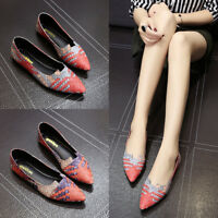 Women's Occident Flat Multi Color Retro Pointed Toe Low Top Workers Shoes Chic