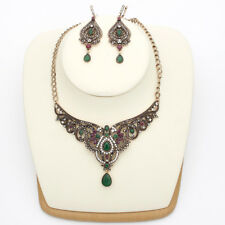 Vintage Style Turkish Jewelry Set Necklace Earrigs Rhinestones Crystals Grn/Red