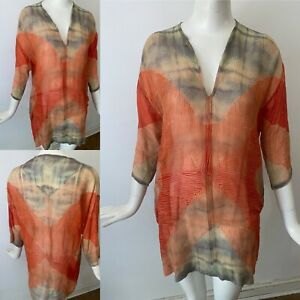 Vtg Neeru Kumar Luxury Designer Shibori Delicate Wool OOAK Print Tunic S 8 10 38