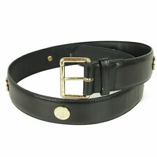 Auth MOSCHINO Vintage Logos Leather Wide Belt Sz 75 F/S 12758bkac