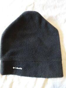 Vintage COLUMBIA Fleece Ski HAT Black Warm Fleece Soft WInter Activities S /M