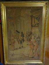 RARE ORIG LARGE MASSIVE ESTATE 19TH C FRENCH NEEDLEWORK TAPESTRY PANEL PICTURE!!