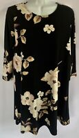 BOBBIE BROOKS Black Floral 3/4 Sleeve Stretch Knit Career Dress Sz: M