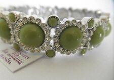 Bracelet Bright Green And Rhinestones Nwt! Lia Sophia Grass Sparkler Stretch