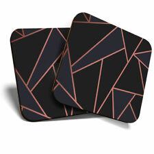 2 x Coasters - Rose Gold Black Art Deco Elegant Pattern Home Gift #24121