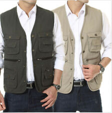 New Men's Cotton Vest Multi-pocket Fishing Photography Director Waistcoat L-4XL