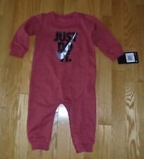 Nike Baby Boys Romper Red Heather Coverall Infant Toddler Boys 9M NWT
