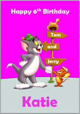 Tom and Jerry Pink Birthday Card Personalised with any wording