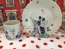 More details for cath kidston disney tinker bell plate and mug set - brand new made in england