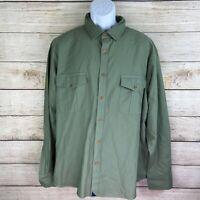 Untuckit Men Size 2XL XXL Green Olive Button Down Utility Shirt Long Sleeve EUC