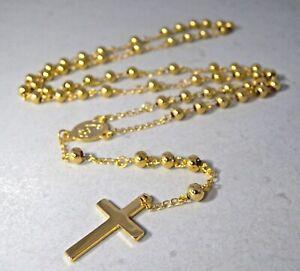 Collana Lunga Rosario Unisex in Acciaio Inossidabile Color Oro Crocifisso Glam