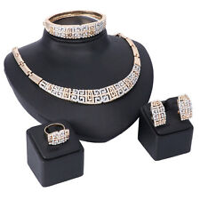 Wedding Gold Plated Crystal Necklace Ring Party Women Fashion Bridal Jewelry Set