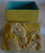 RARE !!!!  ART DECO CERAR PARIS CERAMIC LIDDED BOX-- WOMAN WITH PEARL NECKLACE