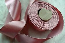 "By the yard 3"" wide blush pink heavy rayon trim vintage satin ribbon belting"