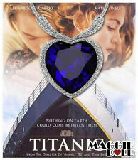 Large white Gold Plated Heart of the OCEAN Titanic Necklace Blue with Crystal