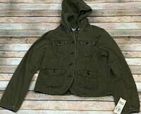 Levi's Tab Twills Women's Olive Green Military Jacket Hideaway Hood Sz Large NEW