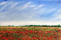 LARGE ORIGINAL HANDPAINTED ABSTRACT by Sally Oasis 91x61x2cm Poppy Poppies Field