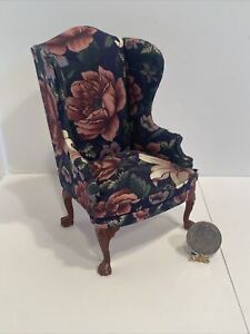 Early Hansson Beautiful Floral Wing Chair Dollhouse Miniature 1:12