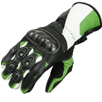 Motorcycle Motorbike Leather Gloves  Knuckle Protection KAWASAKI GREEN XL*