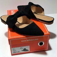 Bill Blass 7.5 M 38 Sabrina Slides Women's Black Suede Leather Bow Flat Mules