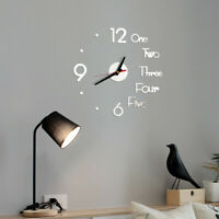 DIY Wall Clock 3D Mirror Surface Sticker Home Office Decor Clock For Gifts