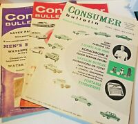 Lot of 3 Consumer Bulletin 1961 62 Two Annual Automobile Car Issues