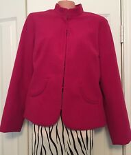 Chico's Solid Pink Blazer Jacket Hook Eye Closure Manderin Collar Size 1 Medium
