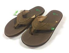 Sanuk Bandito Men's Flip Flops Size 8 Sandals Brown U-Lounge Comfort