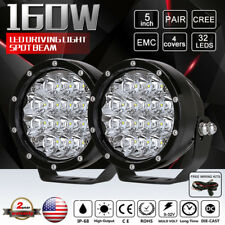 Pair 5inch 160W Cree LED Driving Lights Spot Black Round Offroad VS 320W 240W