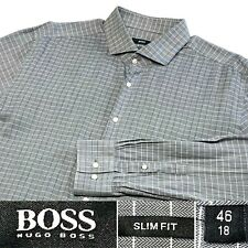 Hugo Boss Slim Fit Size 46, 18 Gray Striped Button Front Dress Shirt