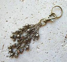 Pyrite & Antique Bronze Plated Beaded Keyring FOB Purse Charm Great Gift!