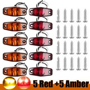 """10x Amber/Red LED Side Fender Marker Light 2.5"""" Clearance For Truck Trailer Lamp"""