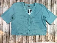 TOPSHOP Nordstrom Mint Green Button Down Crop Top Size 8 NWT