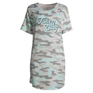 Camouflage Sleepshirt Large/XL Short Sleeve Nightgown Pajamas POCKETS NWT