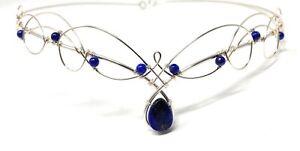 Tiara Circlet Elven Wedding Headpiece Crown Silver with Lapis Lazuli Gemstone