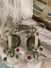 Shabby Vintage Pair of Pink Porcelain Roses Tole Sconces